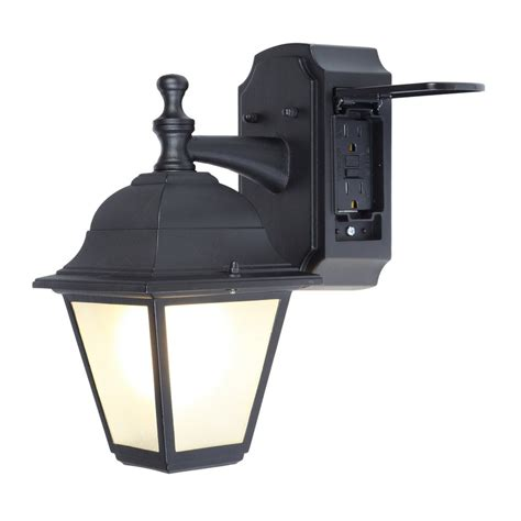 bollard lights shop portfolio gfci 11 81 in h black outdoor wall light at