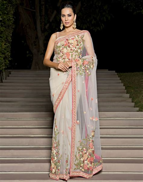 purchase floral embroidered net saree by meena bazaar 538374 purchase online floral embroidered net saree by meena bazaar 538374