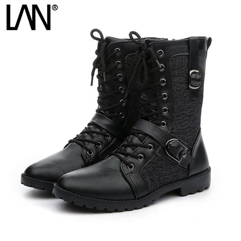 motorcycle boots 2016 fashion 2016 winter men motorcycle boots faux leather lace