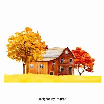 Autumn Trees Tree Clipart Houses Scenery Psd