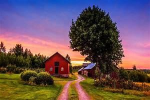 sunset trees road home landscape rustic farm house ...