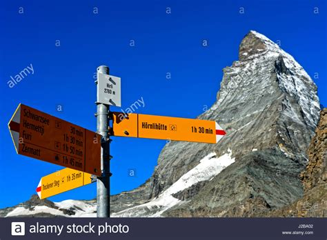 Direction Signs Alpine Hikes Alps Switzerland Stock Photo Directional Sign To The Hörnli Refuge At Hirli In Front Of