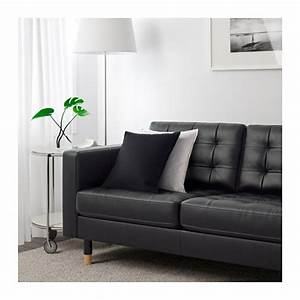 Landskrona three seat sofa grann bomstad black wood ikea for Couch gb sofa
