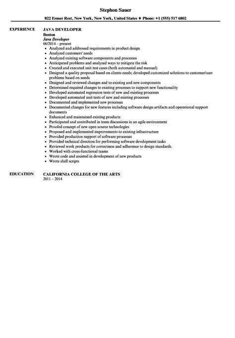 java developer resume model java developer resume sle velvet