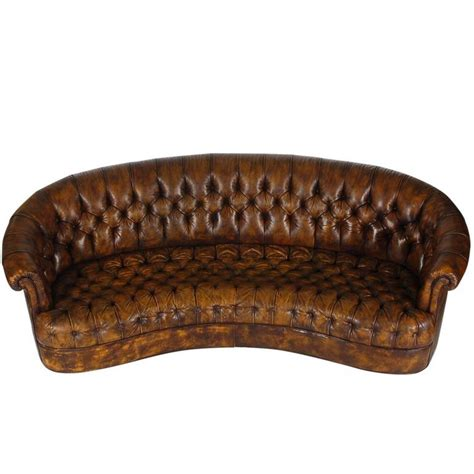 32095 furniture leather original vintage chesterfield sofa with original brown leather for