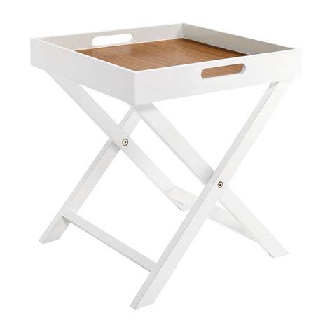 table d appoint oken table d appoint en bois naturel et laqu 233 blanc