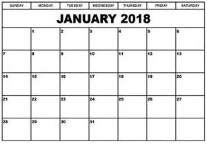 January 2018 Calendar Printable Template