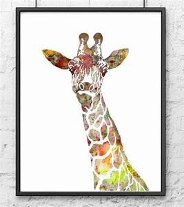 giraffe art print animal watercolor painting kids wall With giraffe wall art