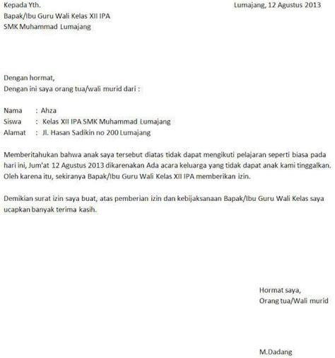Contoh Surat Izin Sakit Sekolah Sma Suratmenyuratnet