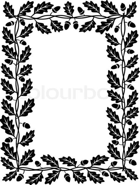 eichenblatt rahmen schwarz silhouette stock vektor