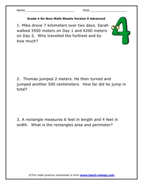 fourth grade interactive math skills word problems