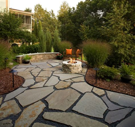 flagstone patio  natural stone fire pit traditional