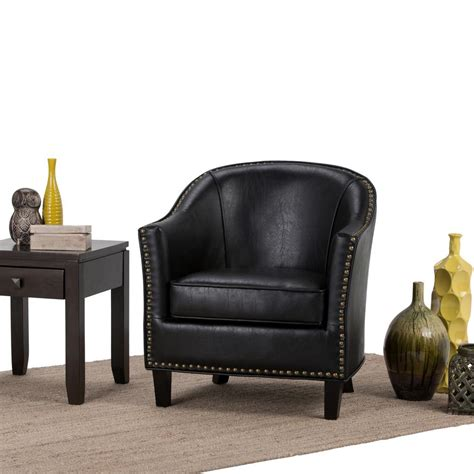worn leather arm chair simpli home kildare distressed black bonded leather arm 1660