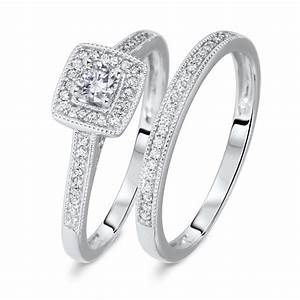 1 1 3 ct tw round cut diamond ladies bridal wedding for Ladies diamond wedding ring sets