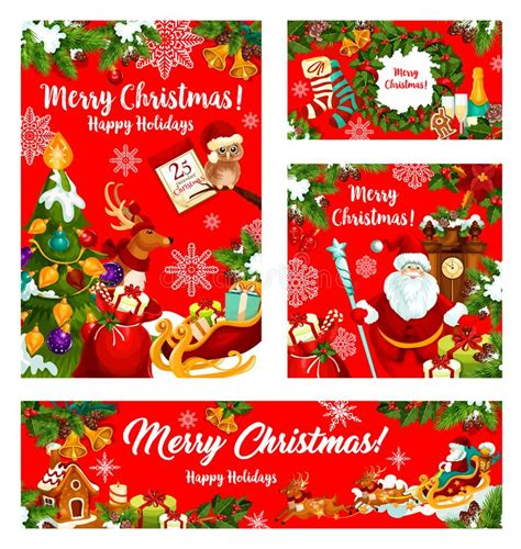 christmas banner xmas greeting card decoration stock