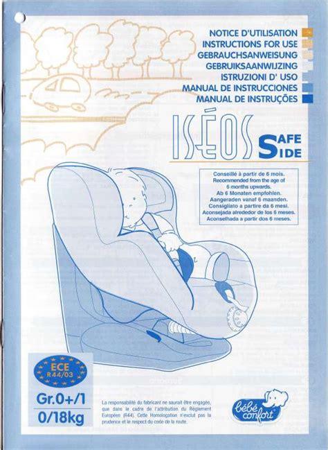 notice siege auto babideal mode d 39 emploi bebe confort iseos safe side siège auto