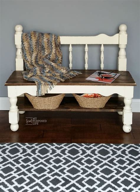 hometalk white twin bed headboard bench