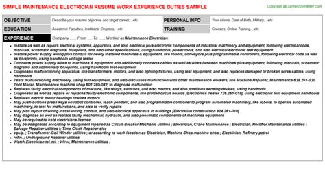 maintenance electrician resume format maintenance electrician title