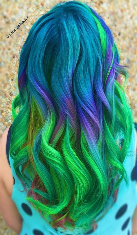 Nealmhair Blue Green Ombre Dyed Hair Color Inspiration