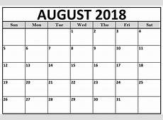 Free Printable Calendar August 2018 Sheet – Business