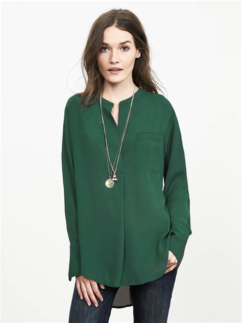 banana republic blouses banana republic drapey crepe blouse in green pine green