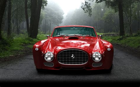 wallpaper trees red cars sports car vintage car