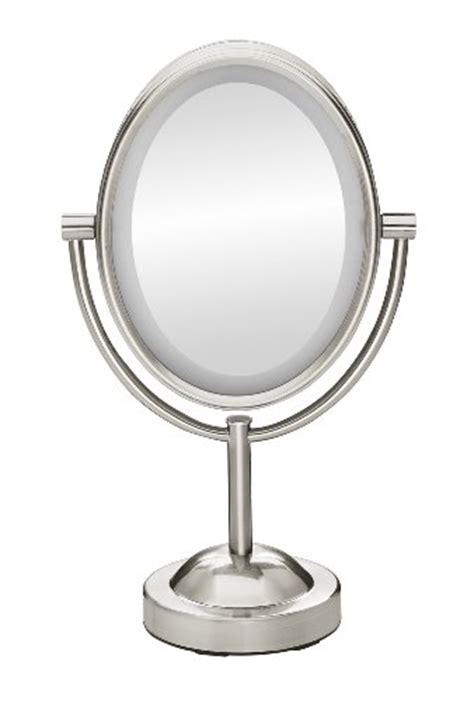 satin nickel mirror conair true glow oval satin nickel sided lighted 2104