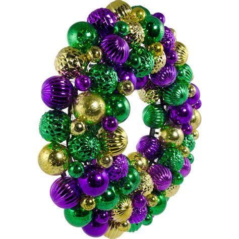 "16"" Mardi Gras Ball Wreath Antique Purple, Gold & Green"