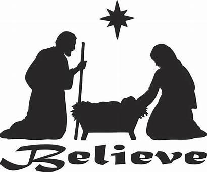 Christian Christmas Vinyl Believe Decals Nativity Scene