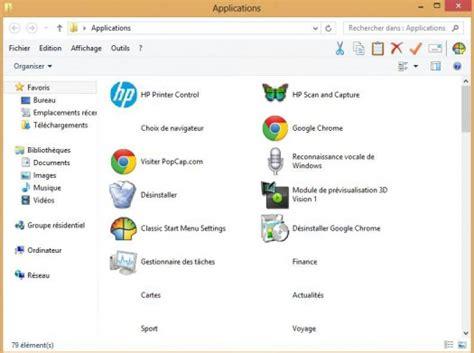afficher bureau windows 8 comment afficher le dossier applications sur le bureau de
