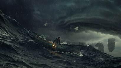 Storm Ocean Dark Wallpapers 4k Waves Wide