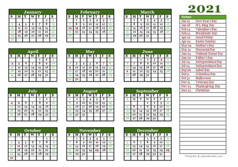 editable  yearly calendar landscape  printable