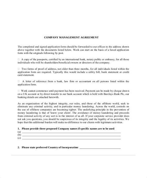sample business management agreement templates