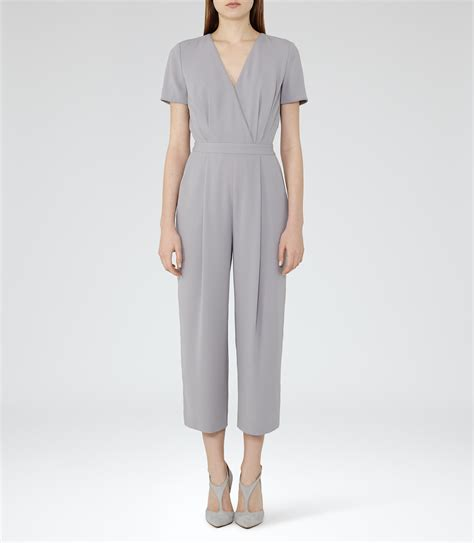 grey jumpsuit womens reiss corsico wrap front jumpsuit in gray lyst
