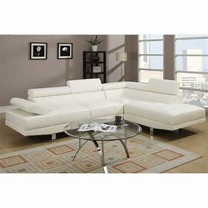 Poundex bobkona atlantic 2 piece sectional sofa in white for Poundex white faux leather modern sectional sofa