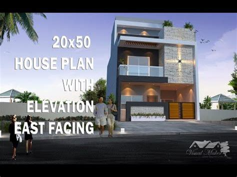 20x50 House Plan With Elevation East Facing 2 Story