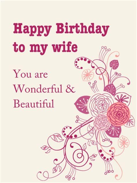 wonderful beautiful birthday card  wife