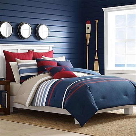 Nautica® Bradford Duvet Cover Set in Navy/Red   Bed Bath