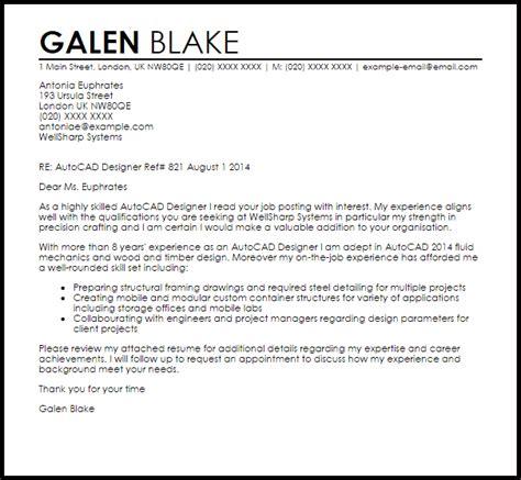 autocad designer cover letter sle livecareer