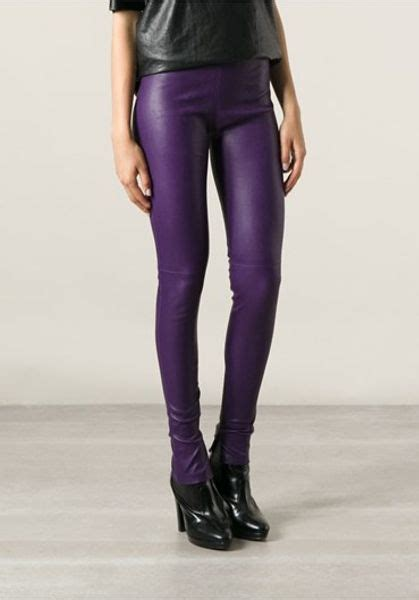 balenciaga leather leggings  purple lyst