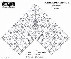 Southern Diamonds Poncho Stitch Diagram Rounds 1