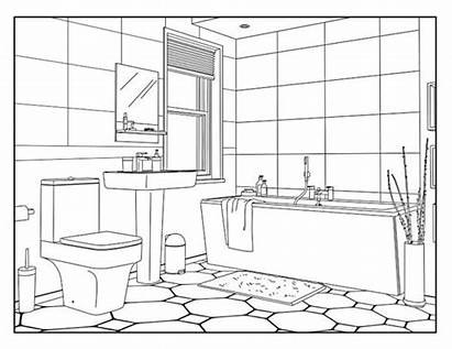 Coloring Bathroom Pages Adults Around