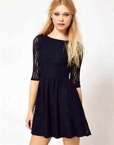 river island river island navy lace skater dress With robe de noel pour ado