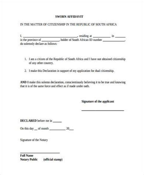 Unlike some other notarial acts, the signers needn't sign the document in the presence of the notary, and can instead bring the document. FREE 8+ Sample Sworn Affidavit Forms in PDF   MS Word