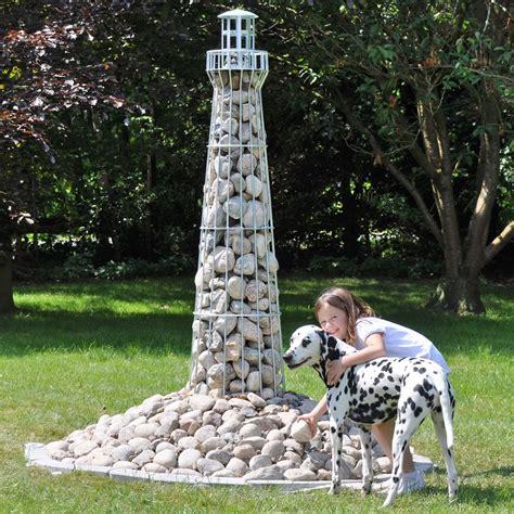 leuchtturm sylt steinkorb gabionen deko garten teich
