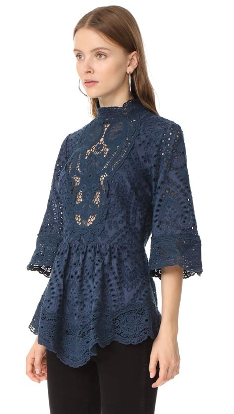 lyst nightcap embroidered blouse in blue