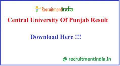 Central University Of Punjab Result 2020 || CUPB (UG/PG ...