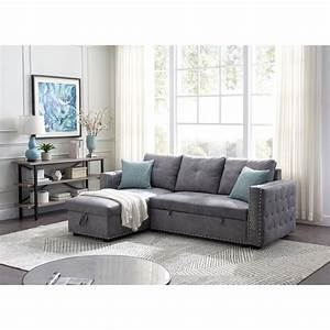Shop, Merax, 91, Inch, Reversible, Sleeper, Sectional, Sofa, With, Storage, Chaise, And, Pull, Out, Bed