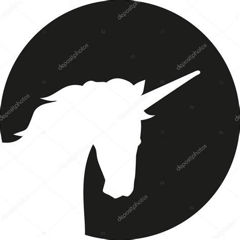 unicorn head silhouette  front  moon stock vector