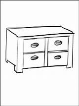 Coloring Cabinet Armoire Pages Furniture Printable Template Coloriage sketch template